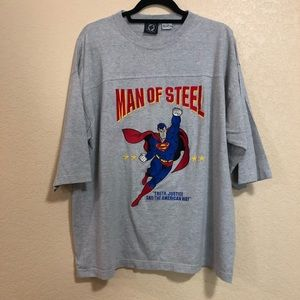 DC Large Gray Superman Embroidered Tee Shirt